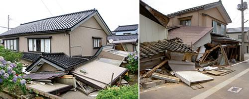 地震で倒壊した木造住宅